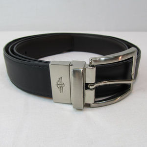 Dockers Mens Black Brown Leather Reversable Belt